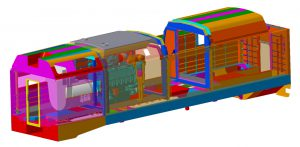 Components (interior, exterior, ventilation and isolation) of wagons for the railway industry